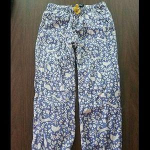 Mini Boden Pant Blue White Rabbit Floral Size 9Y